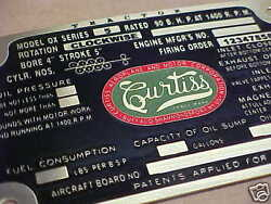 Curtiss Jenny Aircraft Us Army Ox-5 Data Plate 1911 - 1918 Acid Etched Brass Ww1