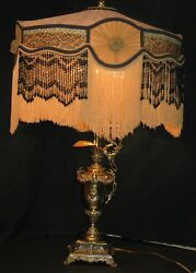 Vintage Antique Brass Ewer Electrified Table Lamp Victorian W/recovered Shade