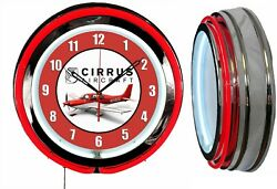 Cirrus Aircraft Red 19 Double Neon Clock Red Neon Chrome Finish Man Cave Hanger
