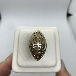 Ming's Hawaii 14k Yellow Gold Jade Marquise Longevity Lucky Ring Vintage Signed