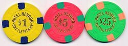 HOTEL NEVADA BATTLE MOUNTAIN 6TH ISSUE $1, $5, and $25 CHIP SET 1980's