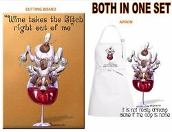 Jack Russell Terrier Dog Wine Art Kitchen Glass Cutting Board & Apron Gift Set