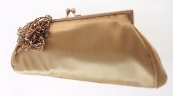 CARLO FELLINI BRONZE SATIN EVENING CLUTCH WITH FLOWER BEADED ADORNMENT