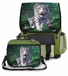 Kidaroo High Quality School Backpack & Lunchbox for Girls Boys Kids With White