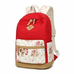 Hofiter Canvas Casual Laptop Middle School Backpack for Teen Girls Book Bags Red