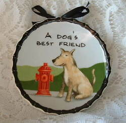 Ceramic TERRIER Mix  PUPPY DOG & HYDRANT A Dogs Best Friend  Decorative Plate
