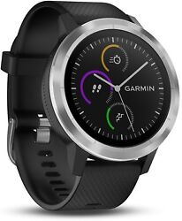 New Garmin Vivoactive 3 Gps Smartwatch / Activity Tracker --- Black And Stainless