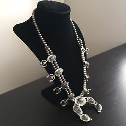 Fine Old Navajo Native American Indian Silver Squash Blossom Necklace Turquoise