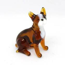 Middle blown glass figurine Dog - French bulldog sitting Russian Murano #161