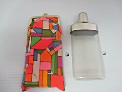 Vtg. 1970's Plastic Flask And Brightly Colored Mod Cigarette Case W. Germany Empty