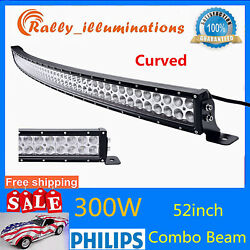 52''inch 300w Curved Led Work Light Bar Offroad Bumper Roof Gmc Ford For Jeep