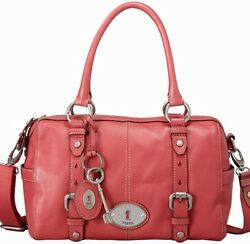 Fossil Maddox Satchel LARGE Dark Pink Leather CrossBody Shoulder Bag EUC