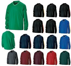 Menand039s Striped V-neck Lined Pullover Windshirt Wind/water Resistant Xs-3xl
