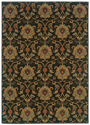 Black Transitional Machine Made Vines Flowers Leaves Area Rug Floral 1724e