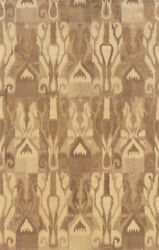 Ivory Ikat All-over Muted Transitional Area Rug Abstract 68005
