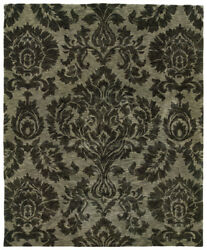 Black Transitional Hand Knotted Flowers Petals Geometric Area Rug Floral 19108