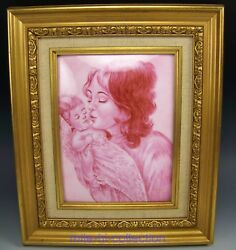 Antique Limoges Enamel Painted Mother And Baby Portrait's Framed Plaque 12 X 10