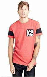 True Religion Men's Decal Patch Elongated Tee T Shirt in Grafitti Red