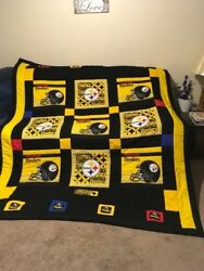 Hand Stiched Double-sided Multi-color Steelers Quilt