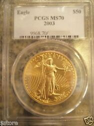 2003 50 Pcgs Ms70 One Ounce Gold American Eagle