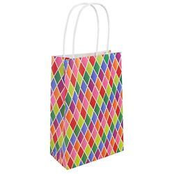1/6/12 Harlequin Diamond Pattern Paper Birthday Party Favour Loot Bags Handles