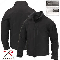 Rothco Stealth Ops Soft Shell Black Tactical Jacket - Includes 2 Flag Patches