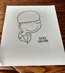 Mort Walker Signed Autograph Hand Drawn Sketch Of Beetle Bailey