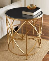 New Horchow Stnning Iron Accent Side End Table Black Granite Top