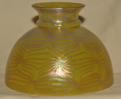 Rare Loetz Gold Decorated Rayo Style Oil Lamp Shade Look