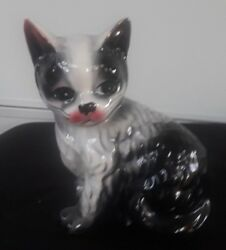 Vintage Black and White Ceramic Cat Figurine 6
