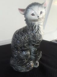Vintage Large Ceramic Grey black and white Long Haired Cat Figurine Japan 9.5