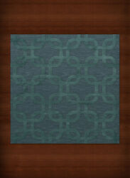 Blue Transitional Hand Hooked Loops Rounded Squares Area Rug Geometric Dv7