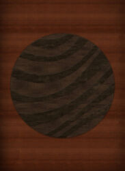 Brown Transitional Hand Hooked Swirls Stripes Lines Area Rug Abstract Dv12