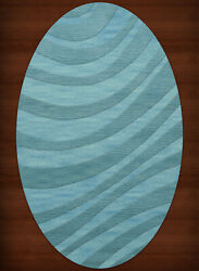 Blue Waves Swirls Stripes Lines Transitional Area Rug Abstract Dv12