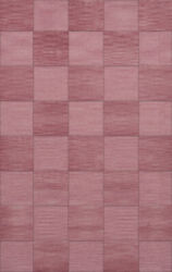 Pink Transitional Hand Hooked Checkered Squares Grid Area Rug Checked Dv15