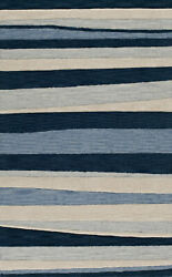 Blue Stripes Lines Bars Transitional Area Rug Striped Tr17