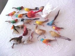 VTG. FELTFEATHERED WWIRE BIRD ORNAMENTS- 20 COLORFUL BIRDS (1 IS COTTON ?)