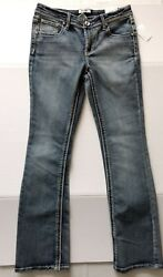 Juniors Girl's Skinny Boot Mid-rise Adjustable Waist Size 16 Jeans By Mudd, Nwt