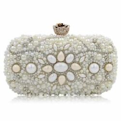 Women White Color Alloy Metal Beaded Decorated Small Evening Party Wear Clutch