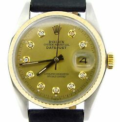 Rolex Datejust Mens 2tone Gold And Stainless Steel Black Champagne Diamond Dial