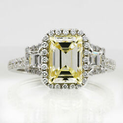Antique Design Emerald cut Diamond Ring 3.50 Carat GIA certified 18K Gold Fan...