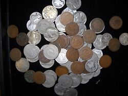 Vintage Coin Hoard 1 One Each Indian Cent Buffalo Nickel V Nickel Mercury Dime