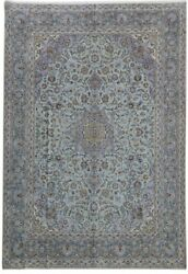 Signed Rug Handmade Light Blue 11' x 15' Persian Kashan Rug