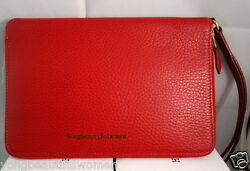 AUTHENTIC HERMES BEAUTIFUL RED TOGO LEATHER CLUTCH WRISTLET HANDBAG