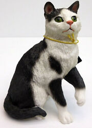 SHORTHAIR BLACK AND WHITE CAT FIGURINESITTING CONVERSATION CONCEPTSITEM CF02
