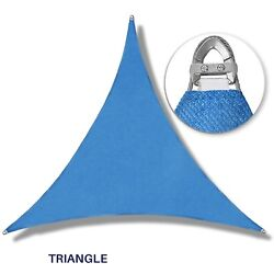 Blue Equal Triangle Heavy Duty Steel Wire Sun Shade Sail Patio Cover W/8 Kit