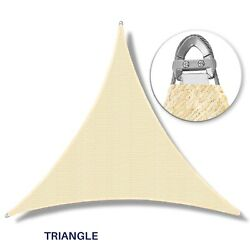 Beige Equal Triangle Heavy Duty Steel Wire Sun Shade Sail Patio Cover W/8 Kit