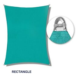 Turquoise 23-31ft Heavy Duty Steel Wire Rectangle Sun Shade Sail Patio W/8 Kit
