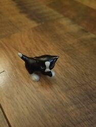 tiny cat figurine  Black and white tuxedo cat
