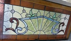 Nice Antique Stained And Beveled Glass Leaded Window With Great Looking Jewels